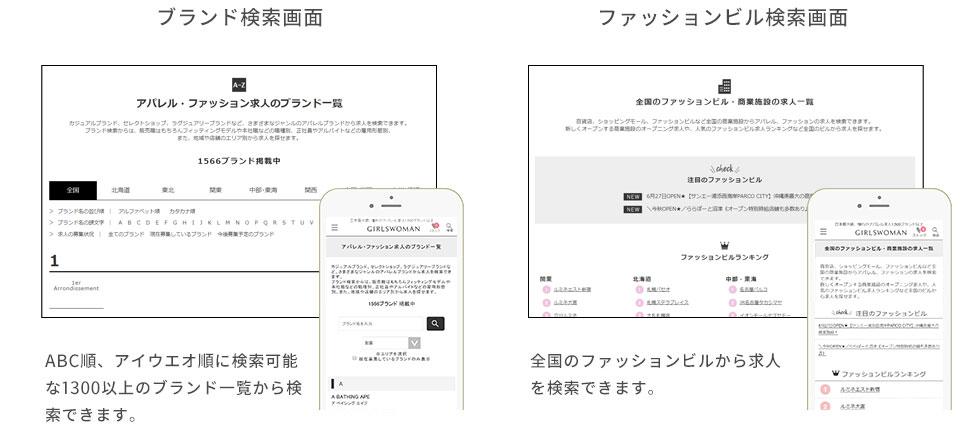 ブランド検索ページとファッションビル検索